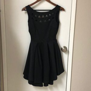 Black dress with cut out neckline
